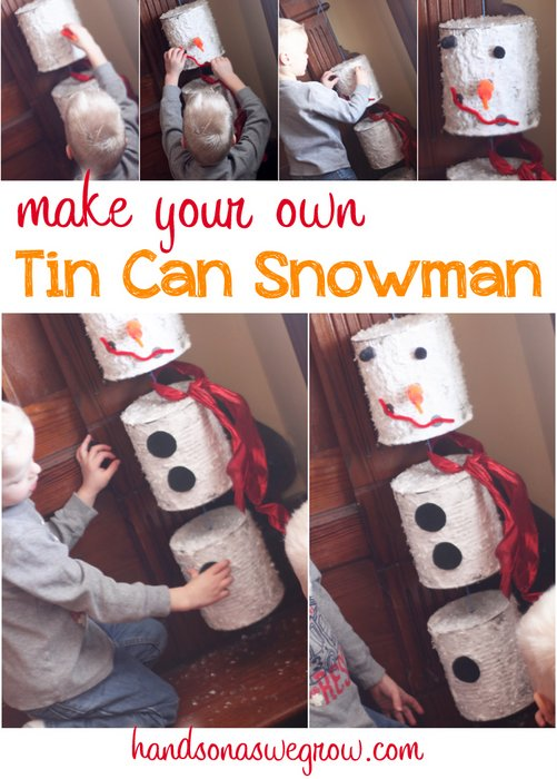 Snowman craft from tin cans for Large tin can crafts