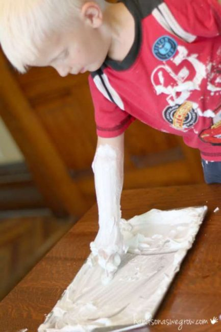 Shaving cream drawing activity