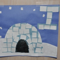 Igloo mosaic craft for the letter I