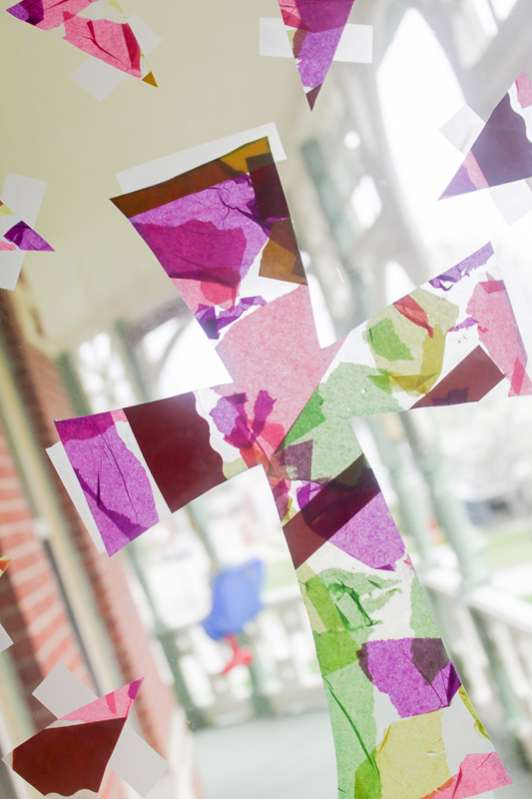 Easter craft with tissue paper cross collage hands on for Cardboard crosses for crafts