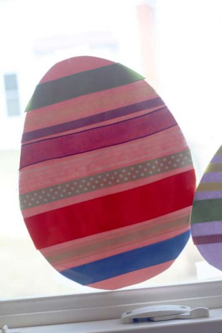 Use up my ribbon stash to make an easy Easter egg craft with the kids
