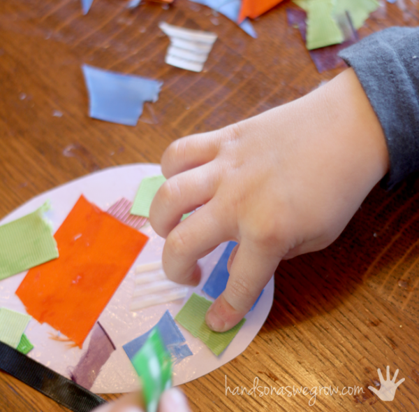 A speckled Easter egg craft using the scraps of ribbon