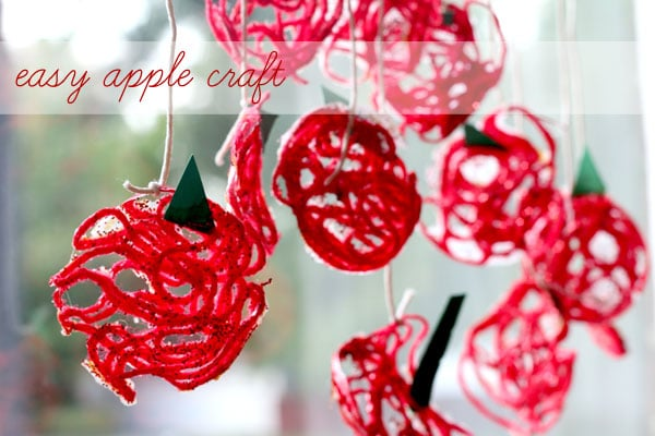 Easy apple craft for kids made with yarn