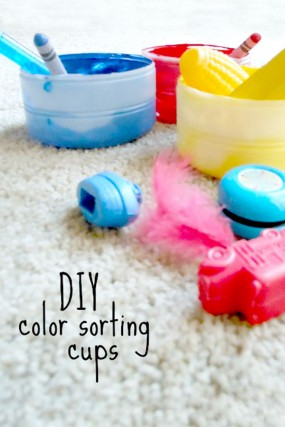 easy color activity with DIY sorting cups
