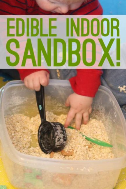 A very simple and quick to make, edible indoor sandbox for the kids to play with