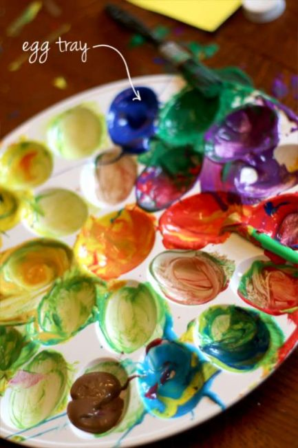 Use an egg tray as a paint palette for kids to mix colors
