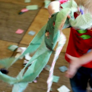 Gross motor activity Fabric free play