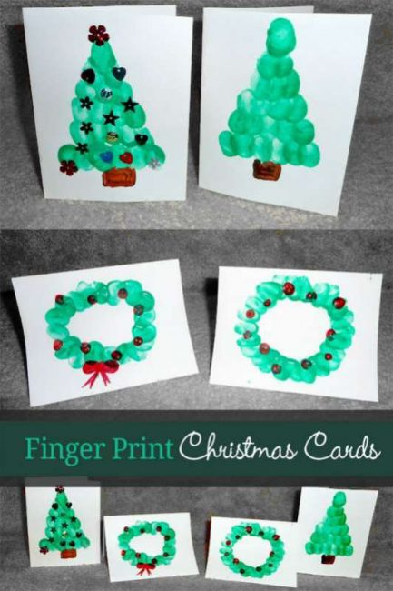 Homemade Christmas Ornaments For Toddlers : Fingerprint christmas cards for kids to make
