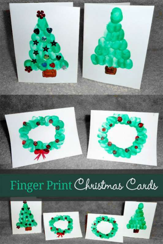 fingerprint christmas cards for kids to make