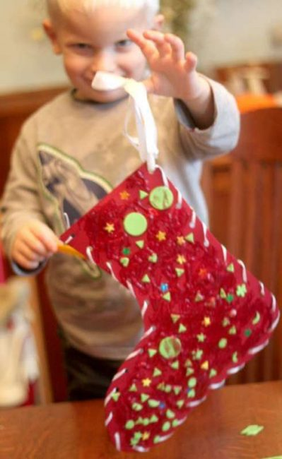Make a classic and glittery Christmas stocking craft