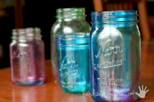 Marbleized tinted Mason jars - Learn how to tint Mason jars
