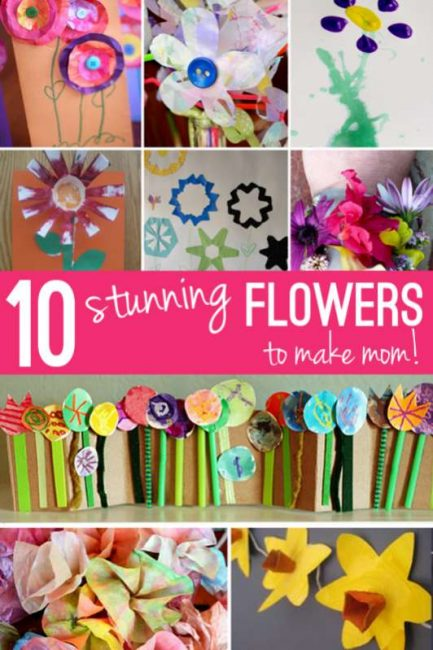 10 fun flower crafts for kids to make mom for Mother's Day