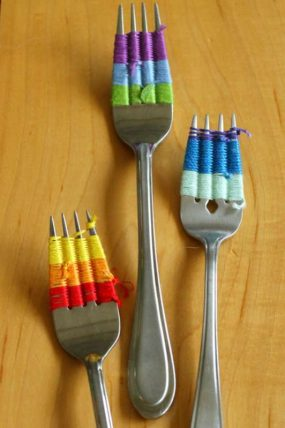 Fork Weaving quick craft for kids