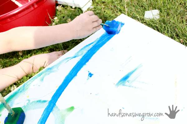 Use a canvas or heavy paper for your frozen paint art project!