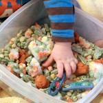 Simple Edible Sensory Play with Frozen Veggies