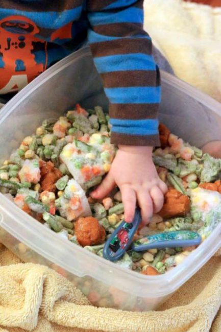 Edible sensory play with frozen veggies hands on as we grow simple edible sensory play with frozen veggies for babies and toddlers forumfinder Gallery