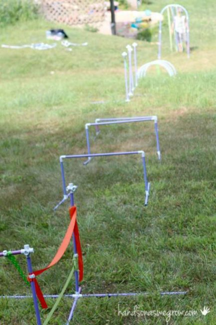 A backyard obstacle course for kids