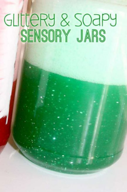 Glittery and soapy sensory jars for toddlers - fun to shake up and watch!