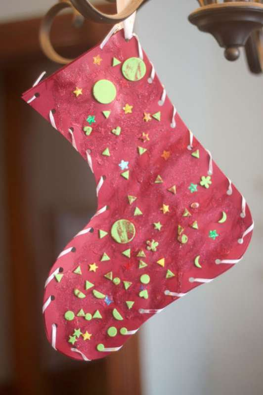 Classic glittery christmas stocking craft hands on as we for Christmas crafts for older kids