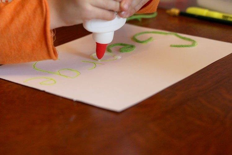 Trace spelling words with glue and yarn - one of 21 ways to practice spelling words!