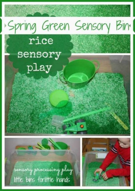 green-colored-rice-sensory-bin
