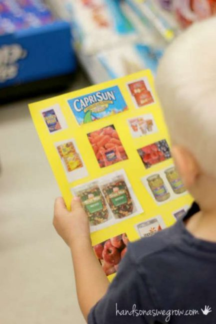 A grocery store scavenger hunt using visual images for non-readers