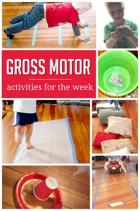 A sample weekly plan of gross motor activities hands on for Indoor large motor activities for toddlers