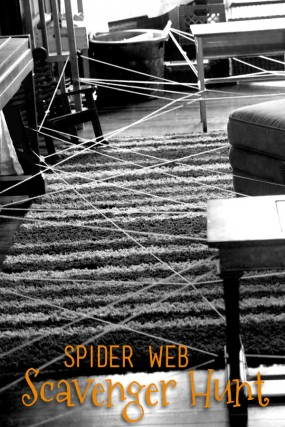A spider web scavenger hunt for kids to do during Halloween