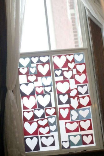 A heart collage for kids to make on the window