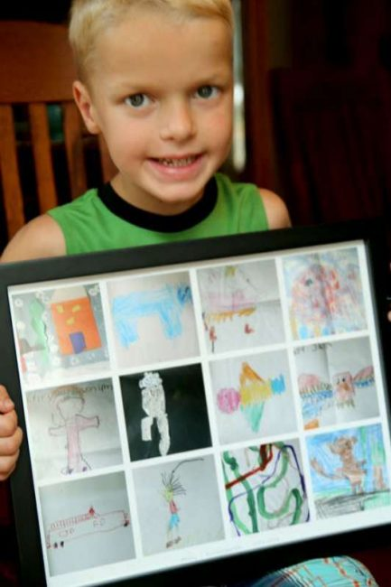 Framed art - ways to display kids artwork from school