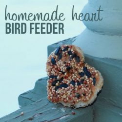 Toasted Heart bird feeder - 1 of the 28 winter crafts for kids to make