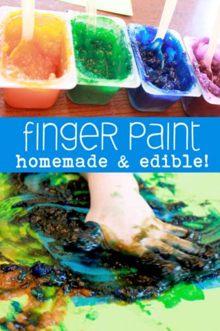 Make homemade edible finger paint and create tape resist letters (and anything else you'd like) with your toddler!