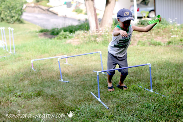 Jump the hurdles - obstacle course for kids