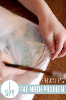 A sensory bag with math problems to solve