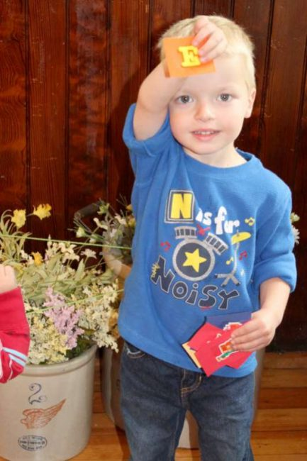 Find the letters of their name -- an indoor scavenger hunt for kids