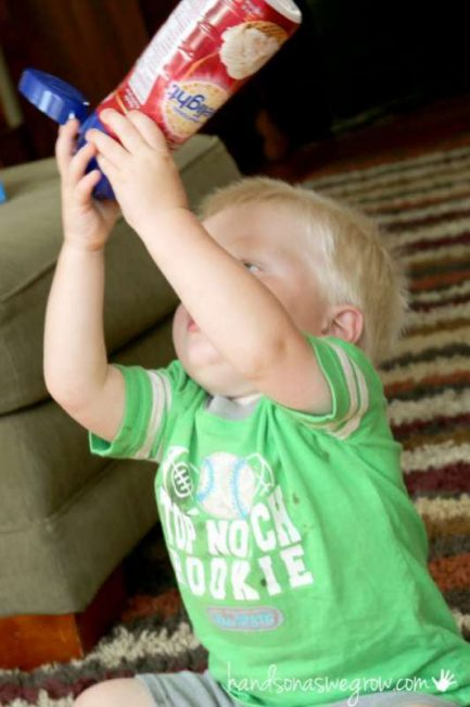 What to do with a plastic International Delight bottle? A fine motor activity for toddler to do