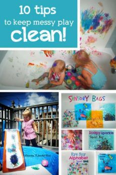 10 easy tips to keep messy play - CLEAN!