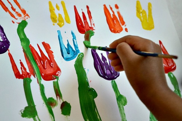 Tulips printing Fun painting ideas for toddlers