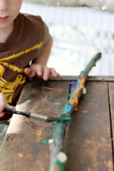 Making painted walking sticks for the kids