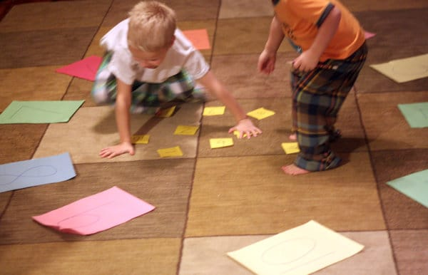 A Kindergarten math activity that gets them moving and solving simple addition problems.