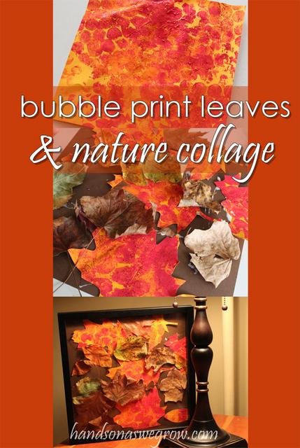 Bubble Print Leaves & Nature Collage