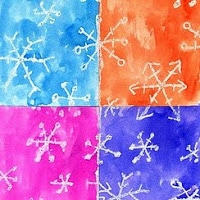 Crayon resist snowflake art
