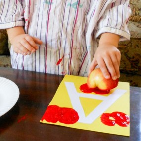 Letter A Apple Stamping