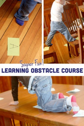 A super fun - and LEARNING - indoor obstacle course for kids!