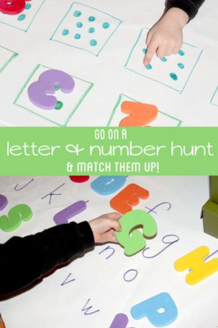 A number and letter scavenger hunt for preschoolers to practice upper and lowercase letters, along with counting while going on a fun scavenger hunt!