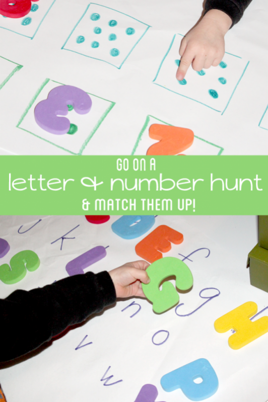 Letter & Number Scavenger Hunt for Preschoolers to Learn