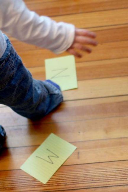 Place letters (or whatever!) around the room, on chairs, on the table, for a learning indoor obstacle course for the kids!