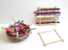 Weaving with Kids Using Ribbon and Fabric (Homemade Weaving Loom) from Buggy and Buddy