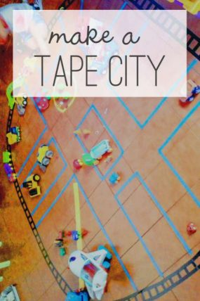 A great idea for days of play for the kids! A tape city!