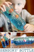 Kids love making waves with a sensory bottle! Easy to make too.